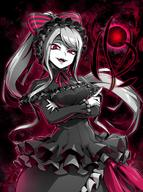 artist:ebiblue character:shalltear_bloodfallen copyright:overlord_(maruyama) general:1girl general:aura general:bonnet general:dress general:eyelashes general:fangs general:gesugao general:grey_hair general:open_mouth general:ponytail general:red_eyes general:slit_pupils meta:highres technical:grabber // 1106x1486 // 295.5KB