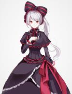 character:shalltear_bloodfallen copyright:overlord_(maruyama) general:1girl general:bonnet general:bow general:dress general:female general:gothic_lolita general:lolita_fashion general:long_hair general:looking_at_viewer general:memmemme general:ponytail general:red_eyes general:silver_hair general:solo general:standing general:tied_hair medium:simple_background technical:grabber // 823x1060 // 482.5KB