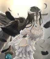 artist:suiete character:albedo copyright:overlord_(maruyama) general:1girl general:black_feathers general:black_hair general:black_wings general:breasts general:cleavage general:demon_girl general:dress general:feathers general:female general:gloves general:hip_vent general:horns general:jewelry general:large_breasts general:long_hair general:ring general:siete1tns general:solo general:white_dress general:white_gloves general:wings general:yellow_eyes medium:high_resolution technical:grabber // 1490x1754 // 2.3MB