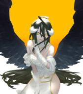 artist:mi8pq character:albedo copyright:overlord_(maruyama) general:1girl general:ahoge general:black_hair general:black_wings general:breasts general:demon_girl general:dress general:female general:gloves general:hair_between_eyes general:hip_vent general:horns general:large_breasts general:long_hair general:looking_at_viewer general:mi8q general:smile general:solo general:white_dress general:white_gloves general:wings general:yellow_eyes medium:simple_background tagme technical:grabber // 794x900 // 521.2KB