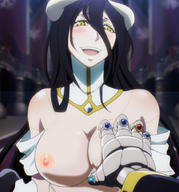 character:albedo copyright:overlord_(maruyama) general:1girl general::d general:bare_shoulders general:black_hair general:blurry general:blush general:breast_grab general:breasts general:cleavage general:demon general:demon_girl general:depth_of_field general:dress general:gloves general:grabbing general:happy general:horns general:indoors general:large_breasts general:long_hair general:looking_at_viewer general:nipples general:open_mouth general:pov general:pov_eye_contact general:slit_pupils general:smile general:sweat general:upper_body general:yellow_eyes metadata:nude_filter metadata:screencap metadata:stitched metadata:third-party_edit technical:grabber // 850x910 // 170.7KB