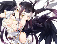 artist:ripe.c character:albedo copyright:overlord general:black_hair general:breasts general:cleavage general:demon general:dress general:gloves general:horns general:long_hair general:yellow_eyes technical:grabber // 1500x1166 // 1.5MB