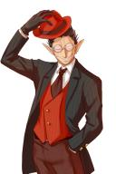 artist:artist_request character:demiurge copyright:overlord_(maruyama) general:1boy general:black_gloves general:brown_hair general:earrings general:formal general:glasses general:gloves general:grin general:hand_in_pocket general:hat general:hat_tip general:jewelry general:necktie general:one_eye_closed general:pointy_ears general:sharp_teeth general:smile general:solo general:suit general:teeth general:vest technical:grabber // 600x900 // 315.5KB