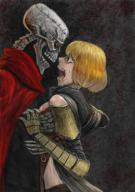 character:ainz_ooal_gown character:clementine_(overlord) copyright:overlord_(maruyama) general:1boy general:1girl general:armor general:blonde_hair general:cape general:crown_of_thorns general:hetero general:hood general:hug general:jewelry general:looking_at_another general:open_mouth general:red_eyes general:ring general:scared general:skeleton metadata:artist_request metadata:highres tagme technical:grabber // 1518x2150 // 5.9MB
