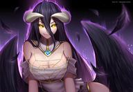artist:reizdrawing character:albedo copyright:overlord general:black_hair general:breasts general:cleavage general:demon general:dress general:feathers general:horns general:long_hair general:magic general:wings general:yellow_eyes style:gradient style:waifu2x style:watermark technical:grabber // 1600x1109 // 1.4MB