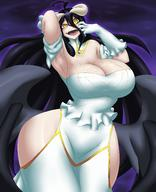 artist:kyelyn character:albedo copyright:overlord_(maruyama) general:1girl general:armpits general:bare_shoulders general:black_hair general:black_wings general:breasts general:cleavage general:collar general:cowboy_shot general:demon_girl general:dress general:elbow_gloves general:gloves general:hair_between_eyes general:hip_vent general:horns general:huge_breasts general:long_hair general:looking_at_viewer general:low_wings general:open_mouth general:purple_background general:slit_pupils general:smile general:solo general:tongue general:upper_teeth general:white_dress general:white_gloves general:wings general:yellow_eyes metadata:absurdres metadata:highres technical:grabber // 3656x4500 // 5.4MB