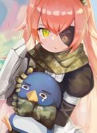 artist:kuroishi_(pixiv17837171) character:cz2128_delta copyright:overlord_(maruyama) general:1girl general:animal general:animal_hug general:armor general:bird general:camouflage general:eyepatch general:female general:gloves general:green_eyes general:green_gloves general:long_hair general:long_sleeves general:looking_at_viewer general:maid general:maid_headdress general:penguin general:pink_hair general:puffy_long_sleeves general:puffy_sleeves general:scarf general:solo general:tears technical:grabber // 709x960 // 426.9KB