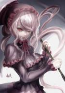 artist:viride character:shalltear_bloodfallen copyright:overlord_(maruyama) general:1girl general:aver_pic general:bonnet general:bow general:dress general:fang general:female general:gothic_lolita general:lolita_fashion general:long_hair general:looking_at_viewer general:red_eyes general:silver_hair general:smile general:solo medium:high_resolution medium:simple_background technical:grabber // 1400x1980 // 925.6KB