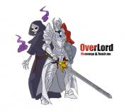 character:ainz_ooal_gown character:touch_me copyright:overlord_(maruyama) general:2boys general:armor general:back-to-back general:cape general:english_text general:gauntlets general:greaves general:helmet general:hood general:multiple_boys general:red_eyes general:shield general:shoulder_armor general:simple_background general:skeleton general:sword general:undead general:weapon metadata:artist_request technical:grabber // 776x630 // 172.6KB