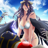 character:ainz_ooal_gown character:albedo copyright:overlord_(maruyama) general:1boy general:1girl general:assertive general:blush general:femdom general:long_hair general:naughty_face general:swimsuit general:you_gonna_get_raped tagme technical:grabber // 900x900 // 548.6KB