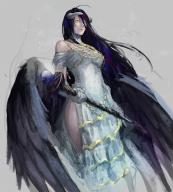 artist:porino character:albedo copyright:overlord_(maruyama) general:ahoge general:black_hair general:blue_hair general:dress general:gloves general:horns general:long_hair general:staff general:wings general:yellow_eyes tagme technical:grabber // 1000x1105 // 1.3MB