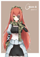 character:cz2128_delta copyright:overlord_(maruyama) general:1girl general:arm_at_side general:bangs general:blush general:breasts general:camouflage general:character_name general:closed_mouth general:corset general:crossed_bangs general:dated general:eyebrows_visible_through_hair general:eyelashes general:eyepatch general:gloves general:green_eyes general:green_gloves general:green_scarf general:hair_between_eyes general:hand_up general:long_hair general:looking_at_viewer general:maid general:maid_headdress general:medium_breasts general:outline general:poinia general:red_hair general:ribbon general:scarf general:solo general:very_long_hair general:white_outline general:white_ribbon metadata:absurdres metadata:highres technical:grabber // 2480x3507 // 2.8MB