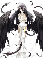 character:albedo copyright:overlord_(maruyama) general:1204495477 general:1girl general:black_feathers general:black_hair general:black_wings general:breasts general:cleavage general:demon_girl general:dress general:feathered_wings general:feathers general:female general:gloves general:hip_vent general:horns general:huijin_zhi_ling general:large_breasts general:long_hair general:looking_at_viewer general:solo general:white_dress general:white_gloves general:wings general:yellow_eyes medium:high_resolution medium:large_filesize medium:simple_background medium:very_high_resolution technical:grabber // 4500x6000 // 6.9MB