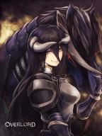 artist:user_xgpy8228 character:albedo copyright:overlord_(maruyama) general:1girl general:armor general:black_hair general:breastplate general:female general:floating_hair general:gauntlets general:hair_between_eyes general:horns general:horse general:in_profile general:long_hair general:red_eyes general:shoulder_armor general:solo general:spaulders general:upper_body general:very_long_hair general:yellow_eyes medium:copyright_name medium:high_resolution meta:artist_request technical:grabber // 1200x1600 // 597.6KB