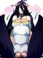 artist:scathegrapes character:albedo copyright:overlord_(maruyama) general:1girl general:ahoge general:bare_shoulders general:barefoot general:black_hair general:black_wings general:breasts general:cleavage general:curvy general:demon_girl general:detached_collar general:elbow_gloves general:folded_wings general:gloves general:hair_between_eyes general:horns general:knees_on_chest general:large_breasts general:light_smile general:long_hair general:looking_at_viewer general:sitting general:solo general:spider_web_print general:toenail_polish general:toes general:very_long_hair general:white_background general:white_gloves general:wings general:yellow_eyes technical:grabber // 630x847 // 397.5KB