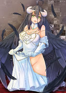artist:.sin character:albedo copyright:overlord_(maruyama) general:1girl general:ahoge general:bare_shoulders general:bird_wings general:black_hair general:black_wings general:breasts general:cleavage general:demon_girl general:demon_horns general:detached_collar general:dress general:dress_lift general:elbow_gloves general:feathers general:gloves general:groin general:hip_vent general:horns general:jewelry general:large_breasts general:long_hair general:looking_at_viewer general:necklace general:no_panties general:open_mouth general:silk general:solo general:spider_web general:strapless general:strapless_dress general:very_long_hair general:white_dress general:white_gloves general:wings general:yellow_eyes meta:highres technical:grabber // 1000x1414 // 1.1MB