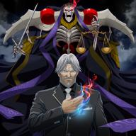 artist:k-ta character:ainz_ooal_gown character:lich character:sebas_tian copyright:overlord_(maruyama) general:2boys general:black_shirt general:black_suit general:blue_eyes general:bread general:breast_pocket general:burning_eyes general:closed_mouth general:collared_shirt general:facial_hair general:fire general:food general:formal general:grey_hair general:grey_jacket general:holding general:holding_sword general:holding_weapon general:jacket general:jewelry general:looking_at_viewer general:male general:multiple_boys general:mustache general:necktie general:necromancer general:old_man general:pocket general:red_eyes general:ring general:scale general:shirt general:silver_hair general:skeleton general:suit general:sword general:weapon general:white_neckwear general:wing_collar medium:1:1_aspect_ratio tagme technical:grabber // 900x900 // 768.9KB