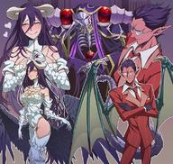character:ainz_ooal_gown character:albedo character:demiurge copyright:overlord_(maruyama) general:1girl general:2boys general:breasts general:demon general:demon_girl general:female general:male general:multiple_boys general:succubus technical:grabber // 800x760 // 193.2KB