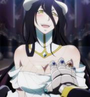 character:albedo copyright:overlord_(maruyama) general:1girl general:bare_shoulders general:black_hair general:blush general:breast_grab general:breasts general:cleavage general:demon general:demon_girl general:dress general:female general:gloves general:grabbing general:happy general:horns general:large_breasts general:long_hair general:looking_at_viewer general:open_mouth general:solo general:succubus general:yellow_eyes metadata:highres metadata:screencap metadata:stitched metadata:third-party_edit tagme technical:grabber // 1916x2052 // 3.2MB