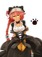 character:lupusregina_beta copyright:overlord_(maruyama) general:1girl general:apron general:blush general:braid general:breasts general:collar general:dark_skin general:hat general:long_hair general:long_sleeves general:maid general:maid_apron general:red_hair general:smile general:solo general:twin_braids general:yellow_eyes metadata:artist_request technical:grabber // 800x1083 // 485.3KB