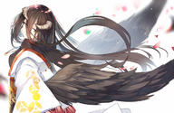 artist:mitu_yang character:albedo copyright:overlord general:brown_hair general:demon general:feathers general:japanese_clothes general:kimono general:long_hair general:necklace general:petals general:wings general:yellow_eyes technical:grabber // 1200x783 // 450.5KB