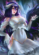 artist:nudtawut_thongmai character:albedo copyright:madhouse copyright:overlord_(maruyama) general:aura general:bare_shoulders general:black_wings general:blush general:breasts general:covered_navel general:demon_girl general:detached_collar general:dress general:elbow_gloves general:feather_(feathers) general:fringe general:girl general:gloves general:hair_between_eyes general:highres general:horn_(horns) general:light_erotic general:looking_at_viewer general:open_mouth general:purple_hair general:realistic general:single general:sitting general:slit_pupils general:tall_image general:teeth general:very_long_hair general:white_dress general:white_gloves general:wings general:yellow_eyes technical:grabber // 2480x3508 // 4.5MB
