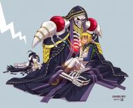 artist:joshua2368 character:ainz_ooal_gown character:albedo character:mare_bello_fiore copyright:overlord_(maruyama) general:1girl general:2boys general:biting general:black_hair general:blonde_hair general:boots general:cape general:carrying general:dark_elf general:dark_skin general:dress general:elf general:frills general:gloves general:hood general:horns general:jealous general:jewelry general:multiple_boys general:pointy_ears general:red_eyes general:ring general:robe general:skeleton general:skirt general:sleeping general:thighhighs general:wings metadata:highres tagme technical:grabber // 1600x1300 // 1.1MB