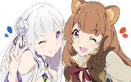artist:umanosuke character:emilia_(re:zero) character:raphtalia copyright:isekai_quartet copyright:re:zero_kara_hajimeru_isekai_seikatsu copyright:tate_no_yuusha_no_nariagari d general: general:2girls general:animal_ear_fluff general:animal_ears general:bangs general:blunt_bangs general:brown_gloves general:brown_hair general:closed_mouth general:crossover general:elf general:eyebrows_visible_through_hair general:gloves general:hair_ornament general:heart general:long_hair general:looking_at_viewer general:multiple_girls general:one_eye_closed general:open_mouth general:pointy_ears general:purple_eyes general:raccoon_ears general:raccoon_girl general:simple_background general:smile general:teeth general:upper_body general:upper_teeth general:v general:white_background meta:commentary_request tagme technical:grabber // 1200x750 // 489.9KB