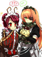 character:cz2128_delta character:entoma_vasilissa_zeta character:pandora's_actor copyright:overlord_(maruyama) general:1boy general:animal general:antennae general:camouflage general:camouflage_gloves general:camouflage_scarf general:cat general:eyebrows_visible_through_hair general:eyepatch general:gloves general:green_eyes general:hat general:insect_girl general:long_hair general:maid general:maid_headdress general:monster_girl general:multiple_girls general:orange_hair general:simple_background general:speech_bubble general:user_dznz5583 general:wide_sleeves metadata:commentary_request metadata:highres tagme technical:grabber // 1200x1600 // 1.3MB