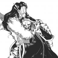 character:ainz_ooal_gown character:peroroncino copyright:overlord_(maruyama) general:2boys general:armor general:bird general:black_hair general:blush general:collar general:eyes_closed general:gauntlets general:hood general:hug general:long_hair general:mask general:multiple_boys general:robe general:simple_background general:skeleton general:sweat general:wings metadata:artist_request metadata:highres metadata:monochrome technical:grabber // 1400x1400 // 1.8MB