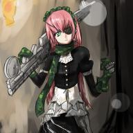 character:cz2128_delta copyright:overlord_(maruyama) general:1girl general:armored_dress general:eyepatch general:frills general:gloves general:green_eyes general:gun general:long_hair general:maid general:maid_headdress general:pink_hair general:puffy_sleeves general:scarf general:solo general:weapon metadata:artist_request metadata:highres tagme technical:grabber // 2000x2000 // 497.3KB