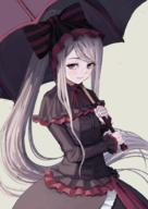 artist:atsuyah0310 character:shalltear_bloodfallen copyright:overlord_(maruyama) general:1girl general:breasts general:dress general:fang general:frilled_dress general:frills general:gothic_lolita general:grey_background general:holding general:holding_umbrella general:lolita_fashion general:long_hair general:looking_at_viewer general:ponytail general:red_eyes general:silver_hair general:simple_background general:small_breasts general:smile general:solo general:umbrella general:vampire general:very_long_hair metadata:commentary_request technical:grabber // 712x1007 // 597.4KB