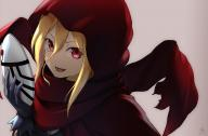 artist:tea_(nakenashi) character:evileye copyright:madhouse copyright:overlord_(maruyama) general:blonde_hair general:fringe general:girl general:gloves general:hair_between_eyes general:holding general:hood general:long_hair general:looking_at_viewer general:mask general:open_mouth general:pink_background general:red_eyes general:red_scarf general:scarf general:signed general:simple_background general:single general:teeth general:upper_body technical:grabber // 1212x800 // 273.7KB