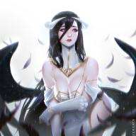 artist:zeronis character:albedo copyright:overlord_(maruyama) general:black_hair general:cleavage general:dress general:female general:large_breasts general:long_hair general:solo technical:grabber // 1440x1440 // 291.0KB