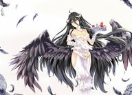 artist:white_crow character:albedo copyright:overlord general:black_hair general:breasts general:cleavage general:demon general:drink general:feathers general:horns general:long_hair general:wings general:yellow_eyes technical:grabber // 2000x1440 // 2.2MB