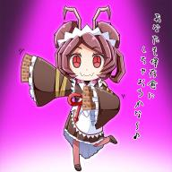 character:entoma_vasilissa_zeta copyright:overlord_(maruyama) general:chibi general:insect_girl general:maid general:monster_girl general:ofuda general:pose general:purple_hair general:red_eyes general:standing_on_one_leg general:text_focus metadata:translation_request tagme technical:grabber // 800x800 // 450.3KB