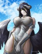 artist:nextoad character:albedo copyright:overlord_(maruyama) general:1girl general:bangs general:bare_shoulders general:black_hair general:breasts general:demon_girl general:demon_horns general:demon_wings general:dress general:feathered_wings general:from_below general:gloves general:hair_between_eyes general:hand_on_own_crotch general:hip_vent general:horns general:large_breasts general:long_hair general:looking_at_viewer general:sky general:slit_pupils general:smile general:solo general:succubus general:very_long_hair general:watermark general:white_dress general:white_gloves general:wings general:yellow_eyes technical:grabber // 800x1041 // 118.2KB