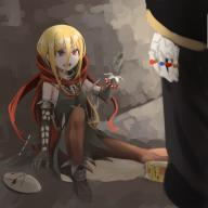 character:ainz_ooal_gown character:evileye copyright:overlord_(maruyama) general:1boy general:1girl general:blonde_hair general:bone general:cape general:crying general:gloves general:hood general:jewelry general:juice general:juice_box general:lock general:long_hair general:long_sleeves general:mask general:open_mouth general:red_eyes general:ring general:skeleton general:skirt general:spikes general:tears general:undead metadata:artist_request tagme technical:grabber // 1000x1000 // 520.1KB