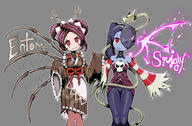 artist:ydg_(eorbsaos1004) character:entoma_vasilissa_zeta character:leviathan_(skullgirls) character:squigly_(skullgirls) copyright:overlord_(maruyama) copyright:skullgirls general:2girls general:antennae general:blue_hair general:blue_skin general:breasts general:bug general:character_name general:double_bun general:dress general:fangs general:grey_background general:hair_over_one_eye general:insect general:insect_girl general:japanese_clothes general:kimono general:long_sleeves general:looking_at_viewer general:maid general:maid_headdress general:multiple_girls general:purple_hair general:red_eyes general:scar general:scar_across_eye general:side_ponytail general:simple_background general:skull general:smile general:striped general:undead general:wide_sleeves general:x-ray general:zombie meta:commentary_request meta:highres meta:korean_commentary meta:mixed-language_commentary technical:grabber // 2250x1480 // 1.9MB