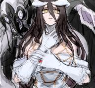 artist:notoro character:albedo copyright:overlord_(maruyama) general:1girl general:bangs general:breasts general:brown_eyes general:cleavage general:confused general:demon general:demon_girl general:dress general:gloves general:horns general:jewelry general:large_breasts general:long_hair general:looking_at_viewer general:pale_skin general:ring general:scared general:sleeveless general:sleeveless_dress general:slit_pupils general:solo general:squid general:succubus general:sweat general:sweatdrop general:white_dress general:white_eyes general:white_gloves general:wings tagme technical:grabber // 593x550 // 522.6KB