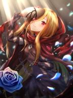 artist:toki_(toki_ship8) character:evileye copyright:overlord copyright:overlord_(maruyama) general:1girl general:bangs general:bead_bracelet general:beads general:black_dress general:black_gloves general:blonde general:blue_flower general:blue_rose general:blush general:bracelet general:breasts general:cape general:chain general:cloak general:closed_mouth general:covered_navel general:dress general:elbow_gloves general:evileye_(overlord) general:eyebrows_visible_through_hair general:fang general:female general:flower general:gloves general:hair_between_eyes general:holding general:holding_mask general:hood general:hood_up general:hooded_cape general:hooded_cloak general:jewelry general:light_rays general:long_hair general:looking_at_viewer general:mask general:mask_removed general:petals general:pixiv_id_14380777 general:red_cape general:red_cloak general:red_eyes general:rose general:ruby_(gemstone) general:ruby_(stone) general:sidelocks general:small_breasts general:solo general:torn_clothes general:vampire general:very_long_hair medium:high_resolution tagme technical:grabber // 1200x1600 // 2.1MB