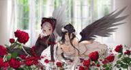 artist:sunako_(veera) character:albedo character:shalltear_bloodfallen copyright:overlord_(maruyama) general:2girls general:bangs general:black_bow general:black_dress general:black_hair general:black_wings general:blurry general:blurry_background general:bow general:breasts general:cleavage general:curtains general:depth_of_field general:dress general:eyebrows_visible_through_hair general:feathered_wings general:flower general:frilled_dress general:frilled_sleeves general:frills general:gloves general:hair_between_eyes general:hair_bow general:high_ponytail general:large_breasts general:long_hair general:long_sleeves general:medium_breasts general:multiple_girls general:parted_bangs general:petals general:ponytail general:red_eyes general:red_flower general:red_rose general:rose general:silver_hair general:sleeves_past_wrists general:twitter_username general:very_long_hair general:white_dress general:white_gloves general:window general:wings general:yellow_eyes meta:commentary meta:english_commentary meta:highres tagme technical:grabber // 2146x1138 // 3.0MB