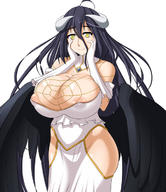 character:albedo copyright:overlord copyright:overlord_(maruyama) general:1girl general:black_hair general:black_wings general:breasts general:curvaceous general:demon_girl general:demon_horns general:erect_nipples general:erect_nipples_under_clothes general:female general:female_only general:female_solo general:gloves general:hand_on_face general:horns general:huge_breasts general:large_breasts general:light_smile general:looking_at_viewer general:nipples general:solo general:thick_thighs general:thighs general:white_gloves general:wide_hips general:wings general:yellow_eyes medium:plain_background medium:simple_background medium:white_background technical:grabber // 600x696 // 101.0KB