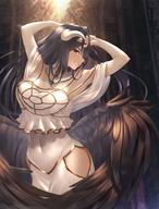 artist:rausu_(undeadmachine) character:albedo copyright:overlord_(maruyama) general:1girl general:bare_shoulders general:black_hair general:black_wings general:blush general:breasts general:cleavage general:demon_girl general:demon_horns general:demon_wings general:dress general:eyebrows_visible_through_hair general:feathered_wings general:hair_between_eyes general:horns general:large_breasts general:long_hair general:looking_at_viewer general:navel general:parted_lips general:slit_pupils general:smile general:solo general:teeth general:white_dress general:wings general:yellow_eyes meta:absurdres meta:commentary_request meta:highres technical:grabber // 1900x2500 // 4.2MB