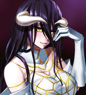 artist:nyamota character:albedo copyright:overlord_(maruyama) general:1girl general:black_hair general:breasts general:cleavage general:demon_horns general:elbow_gloves general:eyebrows_visible_through_hair general:gloves general:horns general:large_breasts general:long_hair general:looking_at_viewer general:slit_pupils general:solo general:upper_body general:yellow_eyes technical:grabber // 900x1000 // 308.6KB