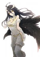 artist:kyoeiki character:albedo copyright:overlord_(maruyama) general:1girl general:black_hair general:hip_vent general:horns general:long_hair general:simple_background general:solo general:yellow_eyes technical:grabber // 520x736 // 282.1KB