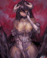 artist:girlsay character:albedo copyright:overlord copyright:overlord_(maruyama) general:1girl general:bare_shoulders general:black_hair general:black_wings general:breasts general:cleavage general:demon_girl general:demon_horns general:demon_wings general:dress general:female general:gloves general:hair_between_eyes general:hip_vent general:horns general:large_breasts general:large_wings general:long_hair general:looking_at_viewer general:short_sleeves general:smile general:solo general:thighhighs general:white_dress general:white_gloves general:wings general:yellow_eyes technical:grabber // 883x1100 // 500.8KB