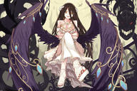 character:albedo copyright:overlord_(maruyama) general:1girl general:bare_shoulders general:black_hair general:black_wings general:breasts general:cleavage general:crossed_legs general:demon_girl general:demon_horns general:dress general:feathered_wings general:female general:gloves general:hip_vent general:horns general:j447811466 general:large_breasts general:long_hair general:looking_at_viewer general:nail_polish general:solo general:white_dress general:white_gloves general:wings general:yellow_eyes medium:3:2_aspect_ratio medium:high_resolution medium:very_high_resolution technical:grabber // 3550x2371 // 4.9MB