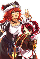 character:entoma_vasilissa_zeta character:lupusregina_beta copyright:overlord_(maruyama) general:2girls general:animal_hat general:antennae general:bangs general:bow general:bowtie general:braid general:collarbone general:dark_skin general:eyebrows_visible_through_hair general:frills general:hair_between_eyes general:hand_up general:hands_up general:hat general:insect_girl general:japanese_clothes general:long_hair general:long_sleeves general:looking_at_viewer general:maid general:maid_headdress general:monster_girl general:multiple_girls general:ofuda_on_clothes general:open_mouth general:red_hair general:smile general:twin_braids general:user_dznz5583 general:werewolf general:wide_sleeves general:yellow_eyes metadata:highres tagme technical:grabber // 1378x2039 // 2.1MB