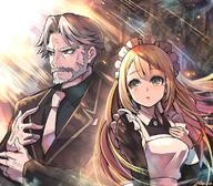 artist:fujimaru_(green_sparrow) character:sebas_tian character:tsuareninya_veyron copyright:overlord copyright:overlord_(maruyama) general:1boy general:1girl general:bangs general:beard general:black_shirt general:black_suit general:blonde general:blue_eyes general:breasts general:butler general:facial_hair general:female general:formal general:fringe general:gloves general:grey_eyes general:grey_hair general:half_gloves general:headdress general:long_hair general:maid general:male general:medium_breasts general:mustache general:necktie general:open_mouth general:shirt general:short_hair general:silver_eyes general:silver_hair general:suit general:white_gloves general:yellow_eyes technical:grabber // 800x700 // 1.0MB
